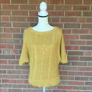Loft Cable Knit Sweater Short Sleeve Mustard M